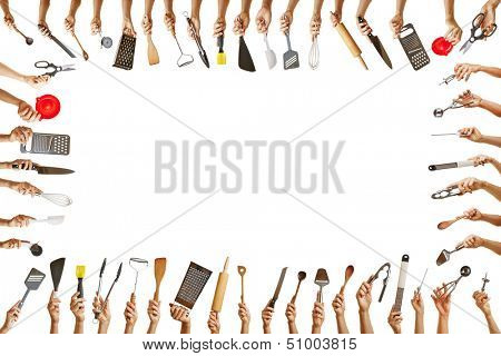 Frame with many hands holding different kitchen tools for gastronomy