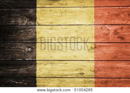 flemish flag on wood texture background