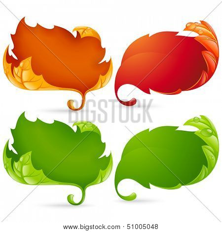 Vector fall leaf frame set isolated on white background