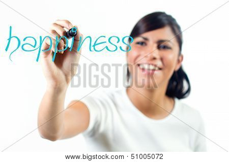 Cheerful Young Girl Writing The Word Happiness