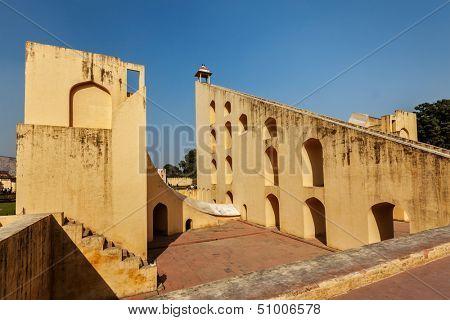 Samrat  Yantra - Giant Sundial in Jantar Mantar - ancient observatory. Jaipur, Rajasthan, India