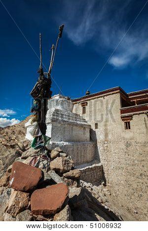 Chorten and Shey palace. Ladakh, India