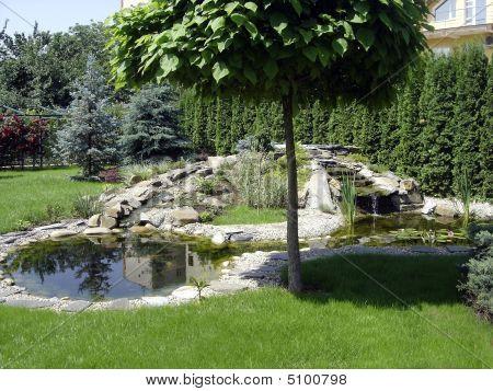 Double Lake In A Garden