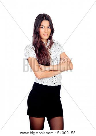Pretty businesswoman in a stylish miniskirt isolated on white
