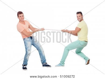 Two boys pulling a rope isolated on a white background