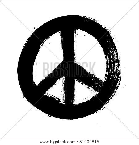 Isolated Hand Drawn Peace Symbol Brush Style Composition Eps10 File.
