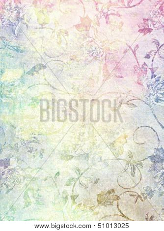 Abstract textured background: blue, brown, and red floral patterns on yellow backdrop. For art texture, grunge design, and vintage paper / border frame