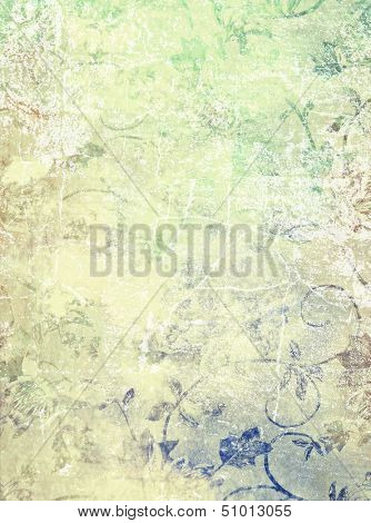 Abstract textured background: blue, green, and red floral patterns on yellow backdrop. For art texture, grunge design, and vintage paper / border frame