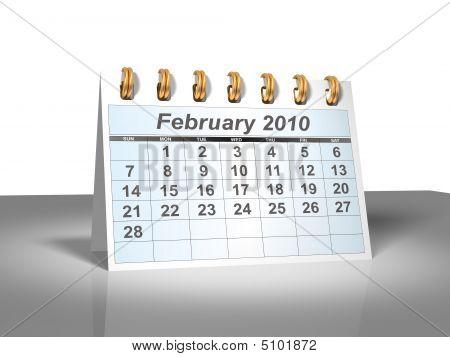 Desktop Calendar (3D). February, 2010.