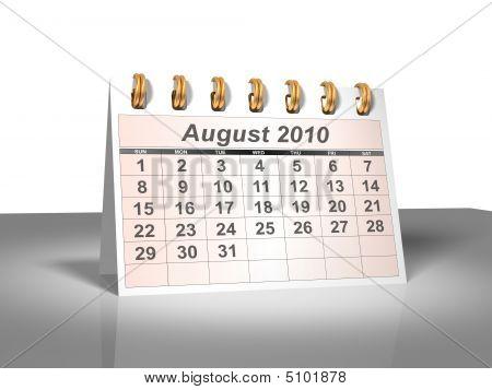 Desktop Calendar (3D). August, 2010.