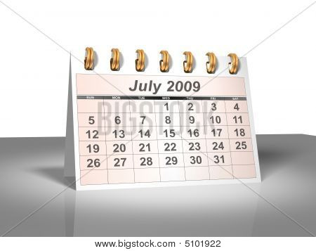 Desktop Calendar (3D). July, 2009.