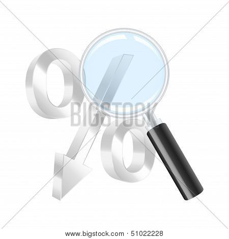 Dropping Percent Symbol And Magnifying Glass. Vector Illustration