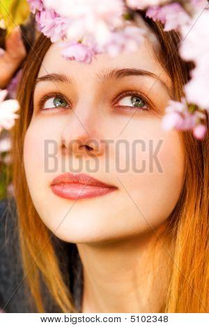 Aromatherapy - Beautiful Woman Smelling Flowers