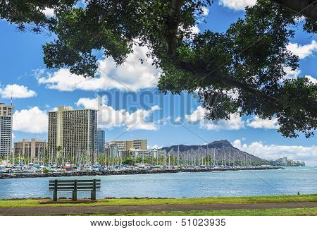 Ala Wai Marina And Diamond Head