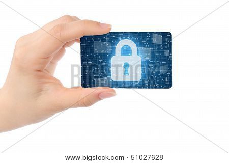 Hand with digital card and closed lock
