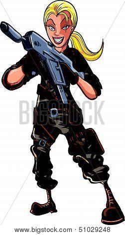 Cartoon female soldier with a machine gun