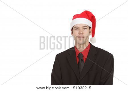 Professional Man In Suit And Christmas Hat