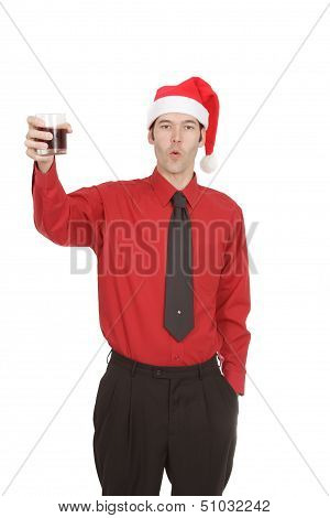 Office Worker In Dress Shirt And Tie At Holiday Party