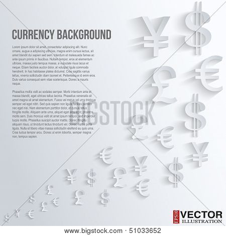 Business background with various currency symbol