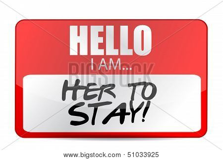 Hello I Am Here To Stay Tag Illustration