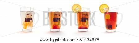 tea in a glass cup with a lemon