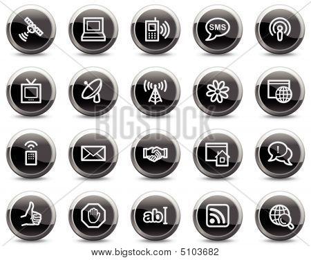 Internet Communication Web Icons, Black Buttons Series