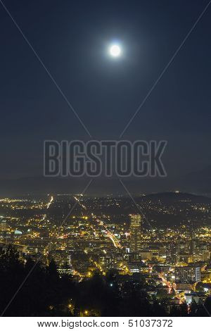 Harvest Full Moon Over Portland Oregon