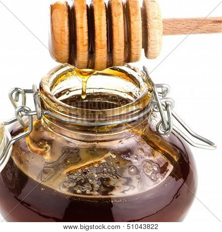 Jar Of Honey With Wooden Drizzler