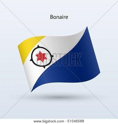 Bonaire flag waving form. Vector illustration.