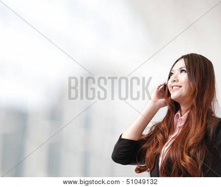 Business Woman Happy Speak Mobile Phone