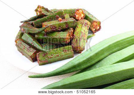 Okra curry with raw okra