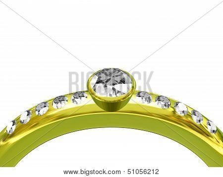 Gold Wedding Ring Isolated On White Background
