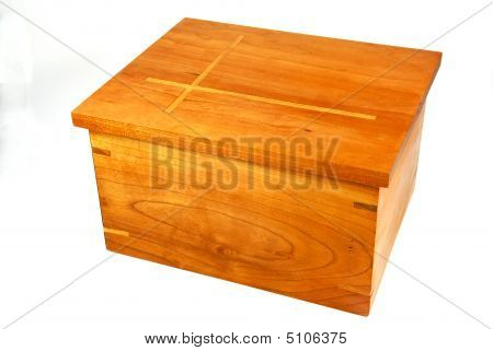 Cherry Wood Box With Inlaid Lid