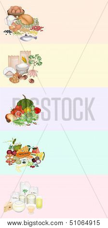 Health and Nutrition Benefits of Food Groups on Multicolor Banner
