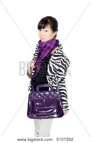 Stylish Asian Girl With Purple Bag And Scarf