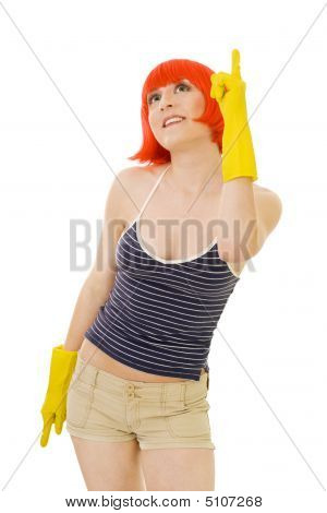 Woman In Red Wig And Yellow Gloves Pointig With Winger