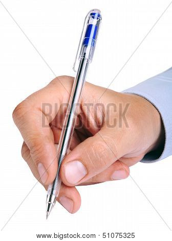 Man's hand with a pen