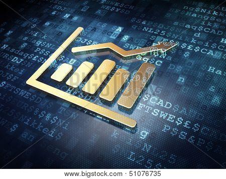 Finance concept: Golden Growth Graph on digital background