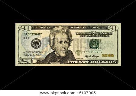 uns zwanzig Dollar-Schein