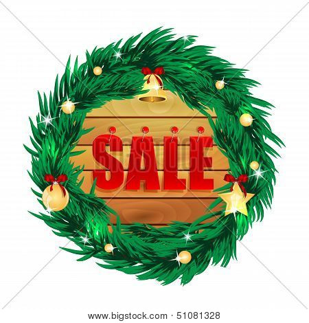 Word Sale On Wooden Boards In The Frame Of The Christmas Decorations.seasonal Christmas Sale.vector