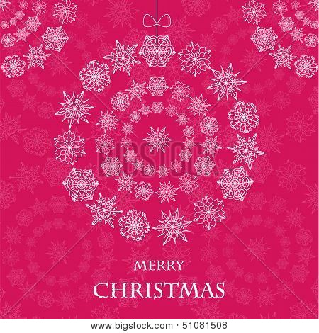 Christmas Toy From Snowflakes On A Pink Background.abstract Christmas Decoration.christmas Backgroun