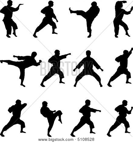 Silhouettes Of Positions Of The Karateka.eps