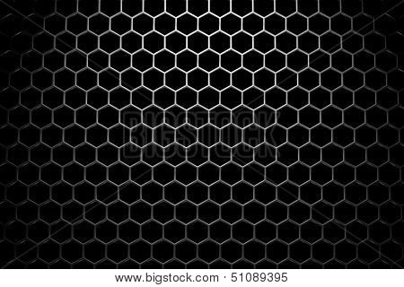 Steel Grid With Hexagonal Holes Under Wide Spot Light