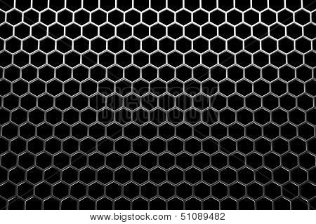 Steel Grid With Hexagonal Holes Under Top Straight Light