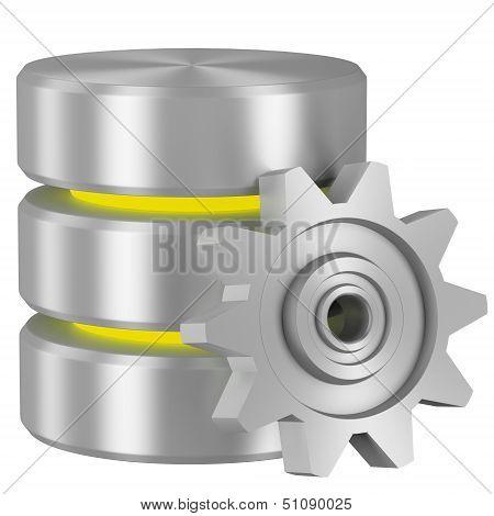 Database Icon With Yellow Elements And Cogwheel