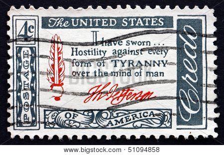 Postage Stamp Usa 1960 Thomas Jefferson Quotation, Credo