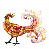 foto of cockfight  - Rooster colorful graphic vector illustration - JPG
