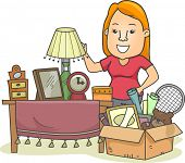 Illustration of a Woman Standing Beside a Box Full of Assorted Items