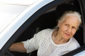 Old  Woman  Driving Car