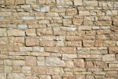 image of mortar-joint  - Old historic limestone building wall texture 